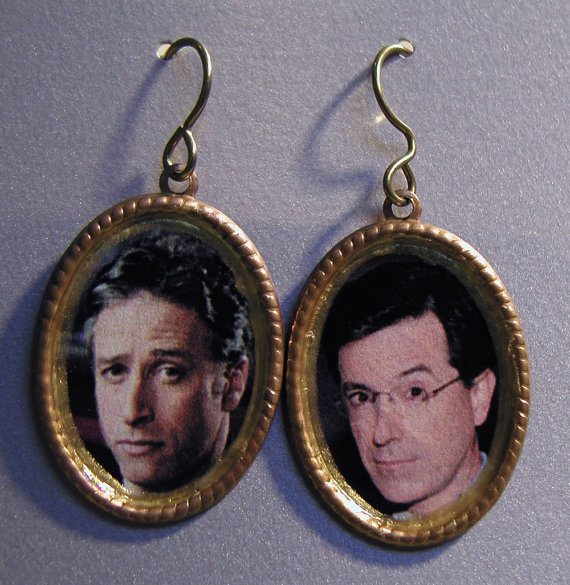 Jon Stewart and Stephen Colbert earrings